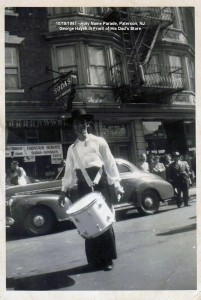 1947 - 10-19 - Holy Name Parade_ Paterson - G Hayek in Front of His Dad_s Store